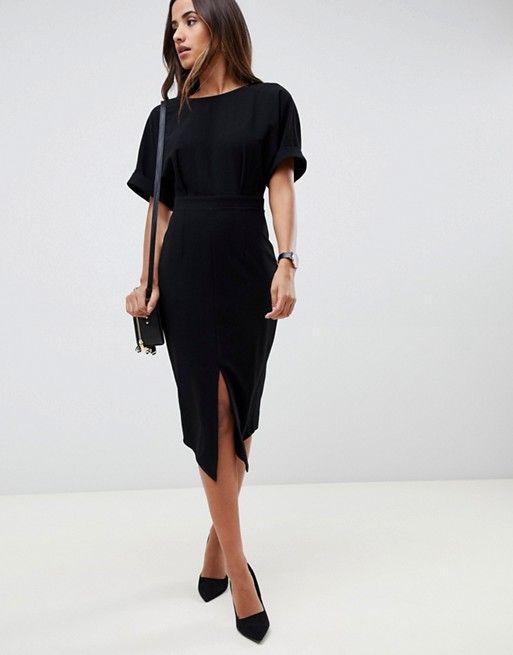 asos design asos design wiggle midi dress business