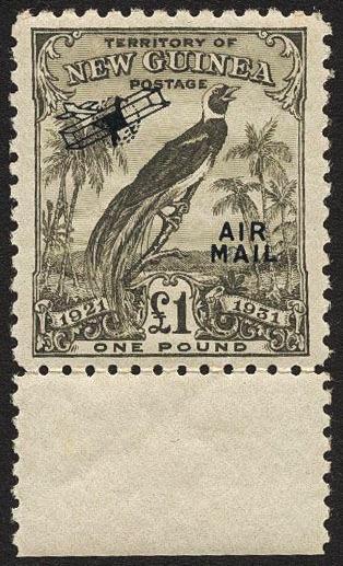New Guinea, Michel 91 **, 1913 Paradise bird £ 1. Nice margin copy, EUR 160 if xx but large extra value if xx.    Dealer  AB Philea    Auction  Minimum Bid:  1000.00SEK  (app. 115 EUR)