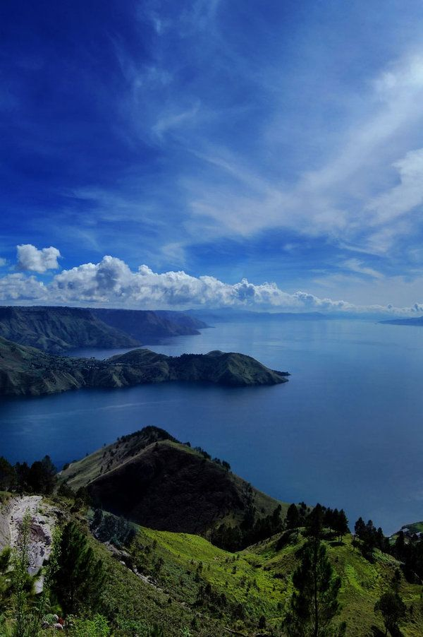 Lake Toba, Northern Sumatra, Indonesia -- site of the ice age causing super…