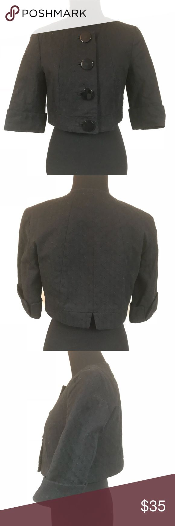 FRENCH CONNECTION BLACK BUTTON CROP JACKET SIZE 8 Good condition French connection black cropped big button jacket size 8 French Connection Jackets & Coats