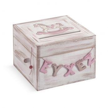 Ξύλινο κουτί ευχών βάπτισης Καρουσέλ