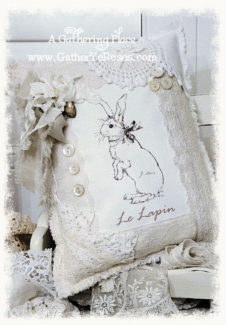 Love this bunny and lace pillow!