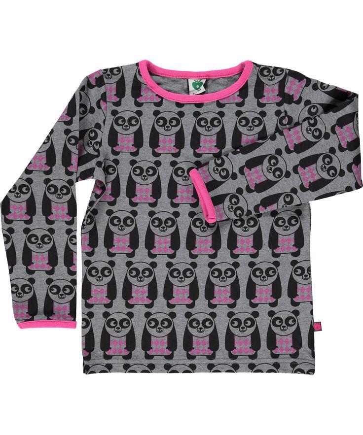 Småfolk schattige grijze t-shirt met leuke panda's. smafolk.nl.emilea.be