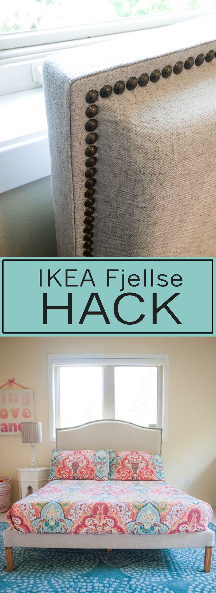Turn your Ikea Fjellse into a professional looking bed frame!  Part 2 of my Little Girl's Bedroom Makeover series.