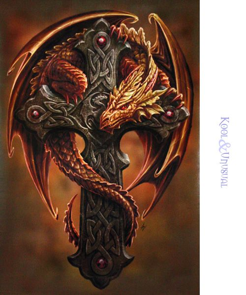 "Anne Stokes Art | Anne Stokes Wall Art Scroll: ""Woodland Guardian"" Orange Dragon with ..."