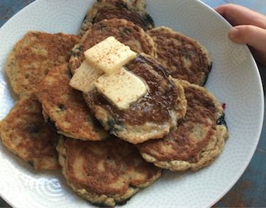 Clean (Unsweetened) Grain-free Coconut Pancakes. ¼ cup coconut flour, ½ teaspoon baking powder, 1 pinch sea salt, 3 tablespoons coconut oil, plus extra for frying the pancakes, 2 tablespoon smashed banana, 1 tablespoon chia gel, 3 large eggs, at room temperature, 1/3 cup coconut milk (from the can), 1/8 teaspoon almond extract and/or vanilla extract, 1 teaspoon lemon juice, Maple syrup for serving. visit www.innercurator.com for the instructions!