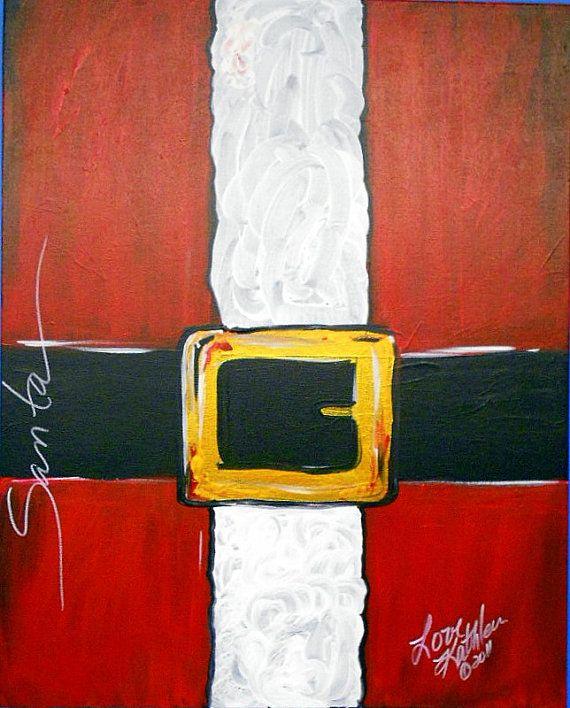 "Original Modern Christmas Santa Seasonal Winter Red  Acrylic Painting - 16""x20""inches by Kathleen Fenton"