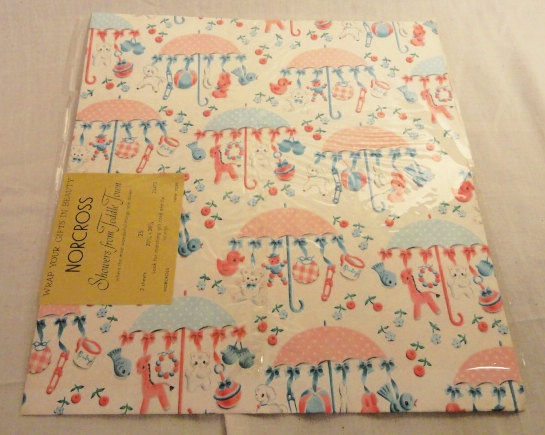Vintage Sheet of Adorable Baby Shower Wrapping Paper. $6.99, via Etsy.