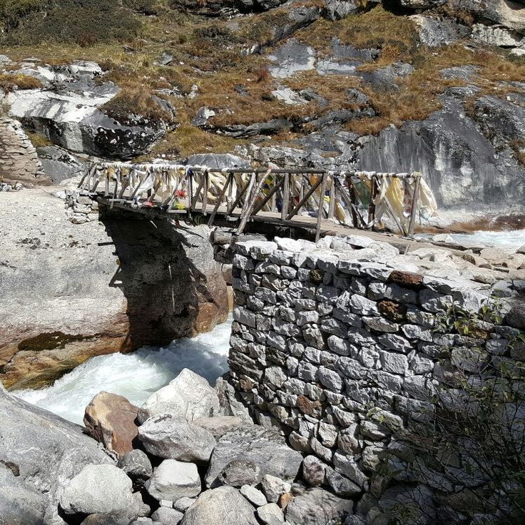 The temporary bridge at Khumjung, Nepal.  This was built after the landslide by the locals.