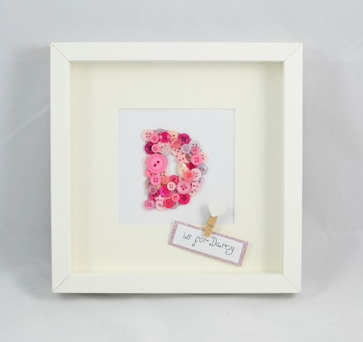 A personal favourite from my Etsy shop https://www.etsy.com/uk/listing/456541198/personalised-button-letter-frame