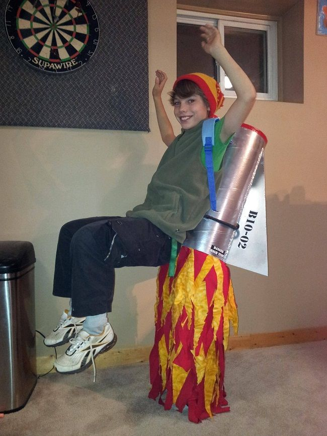 This rocket pack costume is a great idea if you have a long trick or treat route and need to give your feet a break.