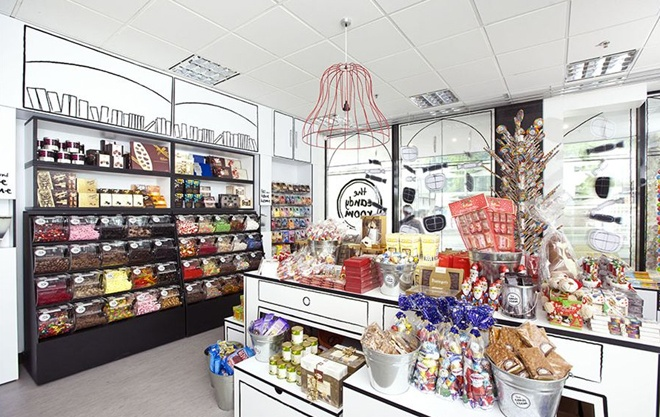 Shopping in Melbourne: Designed by the Red Design Group, The Candy Room is a playful sweet shop in Melbourne, Australia, which looks like a 3D version of a Quentin Blake illustration.     The Candy Room  Corner of Queen & Bourke St Melbourne    Phone: (03) 9670 7665
