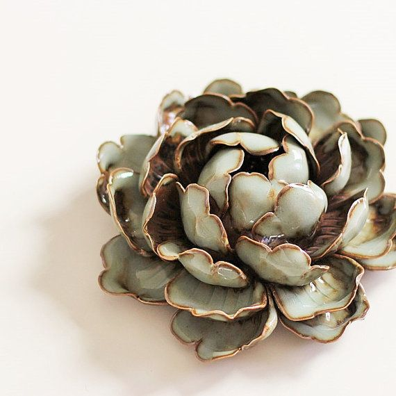 Peony Queen: Ceramic Sculpture Rustic Decorations by Poarttery