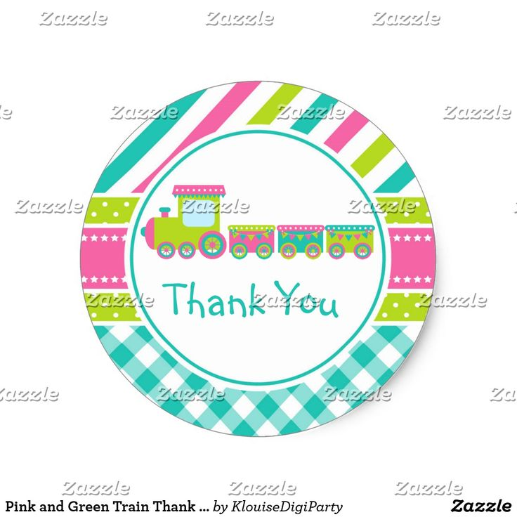 Pink and Green Train Thank You Baby Shower Classic Round Sticker