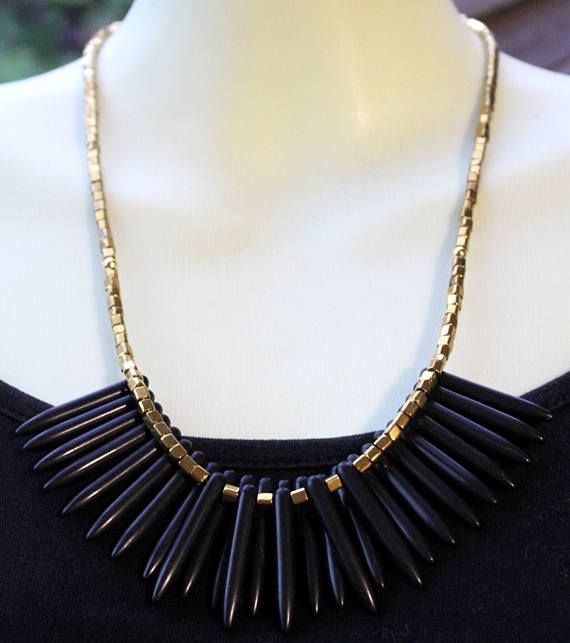 Gothic Spiked Collar Necklace Spike Necklace Black Quill