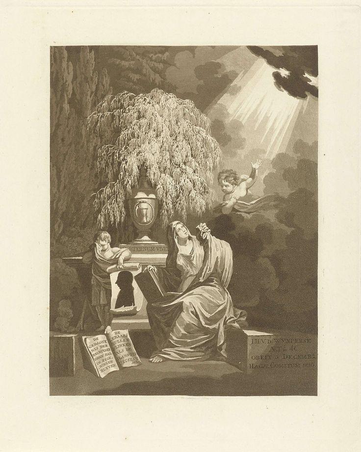 Jan Willem Pieneman | Memorieprent voor Johannes Hulsius van de Wijnpersse, Jan Willem Pieneman, 1810 - 1853 | Prent ter nagedachtenis aan de predikant Johannes Hulsius van de Wijnpersse. Landschap met een sarcofaag. Een vrouw en kind treuren bij het monument. Het kind houdt een papier vast met het silhouetportret van de predikant. De vrouw kijkt op naar de hemel waar een putto haar wijst op het goddelijke licht.