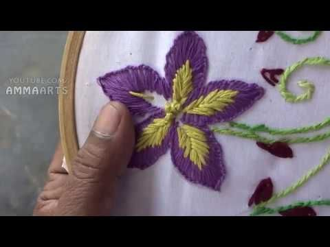 Hand Embroidery  Flower Stitch Button hole Stitch by Amma Arts - YouTube