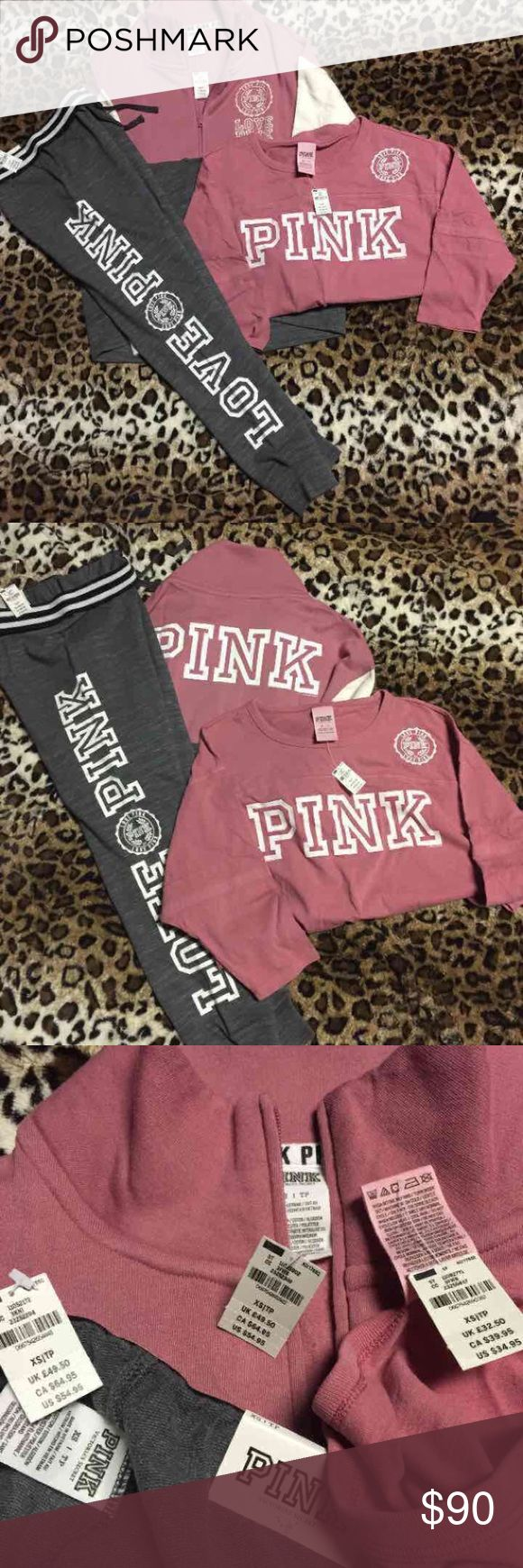 Vs/pink 3 piece color block outfit All size xs. Begonia/white/grey/cream. Gym pants, high/low 1/4 zip, 3/4 sleeve boyfriend jersey ❌NO TRADES❌ ❌ONLY MAKE OFFERS THROUGH THE OFFER BUTTON❌ ❌POSH TAKES 20% PLEASE BE RESPECTFUL WHEN MAKING OFFERS❌ PINK Victoria's Secret Tops Sweatshirts & Hoodies