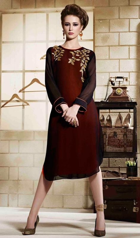 Adorn your beautiful looks stepping out in this black and brown color georgette embroidered tunic. The bead work on kurti personifies full look. #classictunic #trendsettertunic #kurti