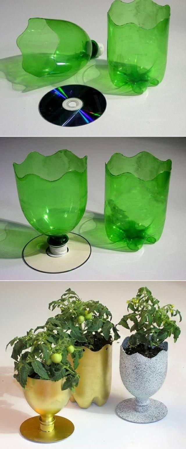 Plastik Tassen schön dekorieren originell färben bepflanzen