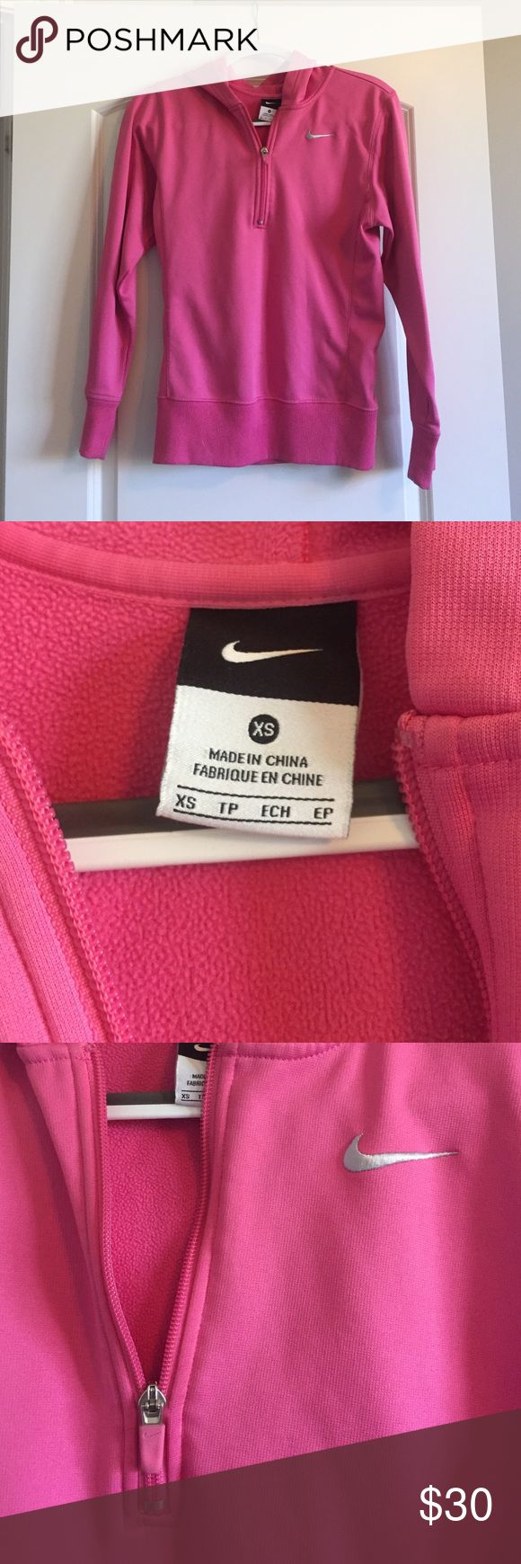 Pink Nike Fleece Hoodie with 1/4 zip Size XS but can fit a small, bright pink, fleece inside, athletic material, good used condition Nike Tops Sweatshirts & Hoodies