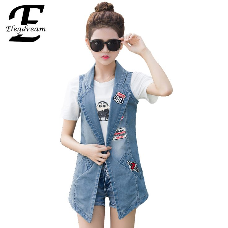 Elegdream 2017 Spring Summer Women New Fashion Vintage Sleeveless Denim Vest Female Denim Jacket Slim Long Outerwear Thin Coats *** AliExpress Affiliate's buyable pin. View the item in details on www.aliexpress.com by clicking the image