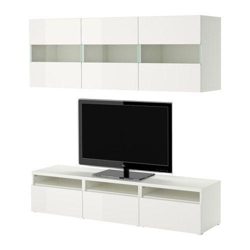 BESTÅ Aufbewkomb.+Türen/Schubladen - weiß/Hochglanz weiß, 180x38 cm - IKEA