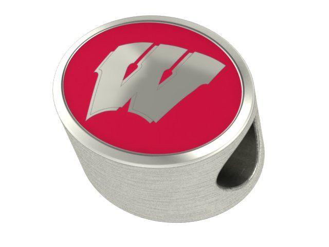 Wisconsin Badgers Enamel Bead Fits Most European Style Charm Bracelets