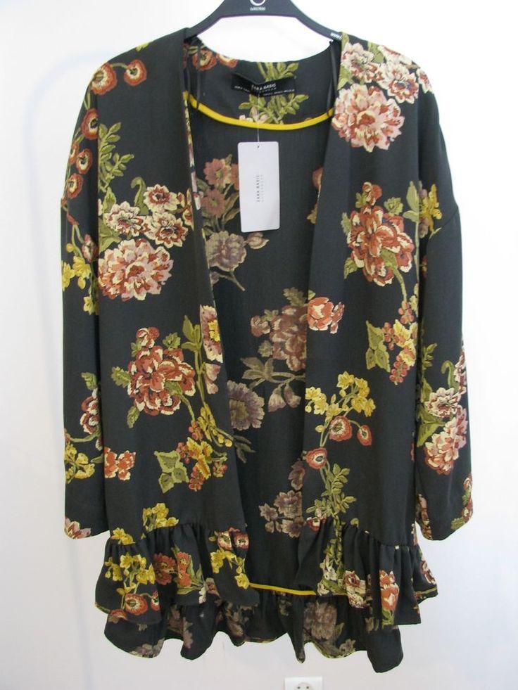 NWT ZARA Floral Printed Kimono with Ruffle Jacket Size XS-S Ref.9006/221 #ZARA #Blazer #Casual