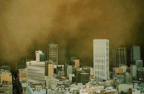 8th February 1983 - Melbourne, the sun disappears as a vast dust storm from the Mallee sweeps south across Melbourne.