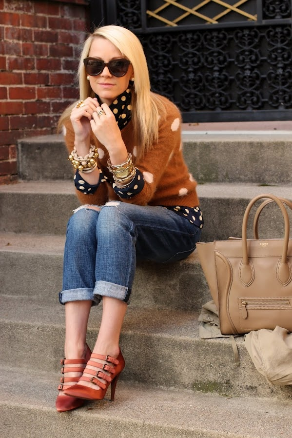 Atlantic-PacificShoes, Atlantic Pacific, Fashion, Polka Dots, Outfit, Autumn Style, Boyfriends Jeans, Heels, The Dots