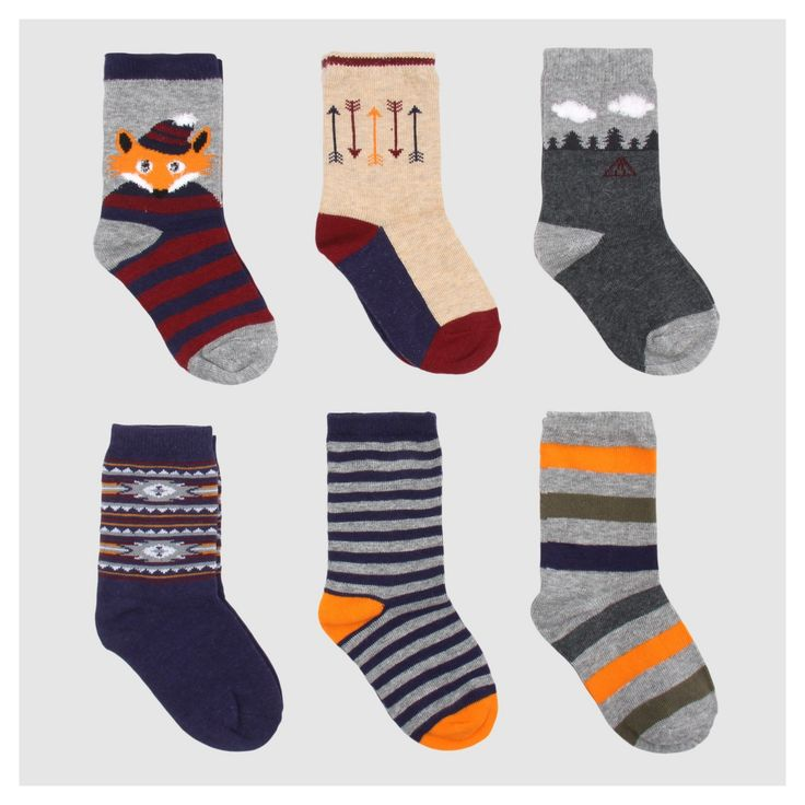 Toddler Boys' 6pc Camping Fox Dress Socks - Cat & Jack Navy 2T-3T, Size: 2T/3T, Blue