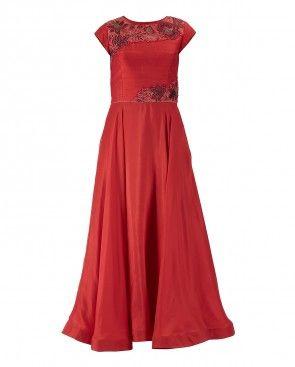 Red Loose Fit Salwar Suit