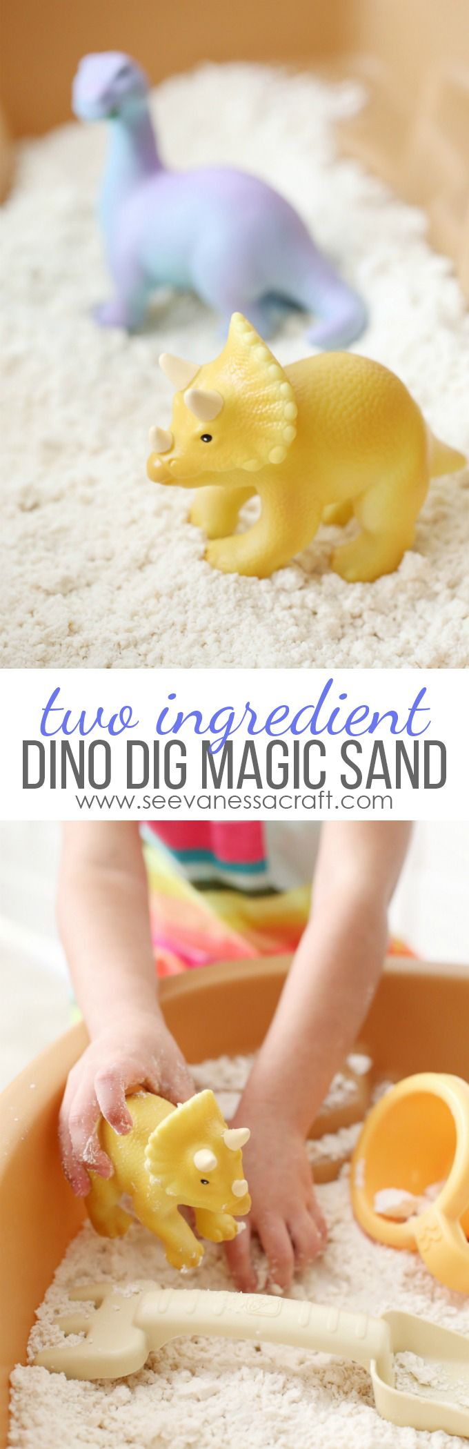 2 Ingredient Dino Dig Magic Moon Sand Recipe - perfect summer boredom buster for kids! #ad
