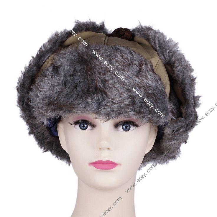 Unisex Warm Soft Canvas Plush Faux Fur Ear Protection Hat #eozy