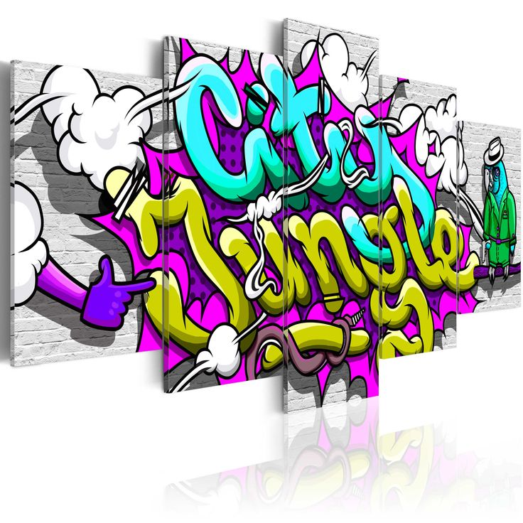 Obraz z motywem graffiti #graf #graffiti #art #decor #hiphop #streetart #modern #tapeta