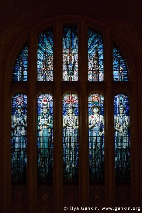 Stained Glass Window in The Hall of Memory, The Australian War Memorial, Canberra, ACT, Australia