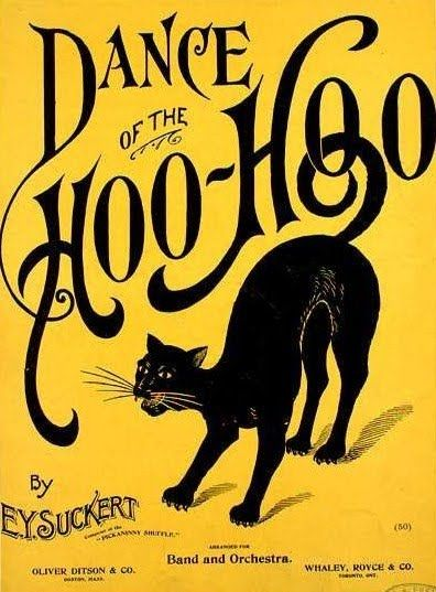 Vintage sheet musicArt Nouveau, Vintage Sheet Music, Hoo Hoo, Vintage Music, Hoohoo, Art Posters, Music Sheet, Dance, Black Cat
