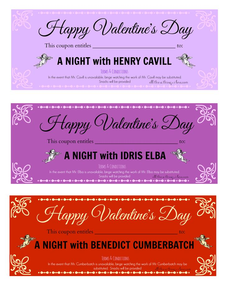 free valentine's day printable love coupons.. a night with henry, Ideas