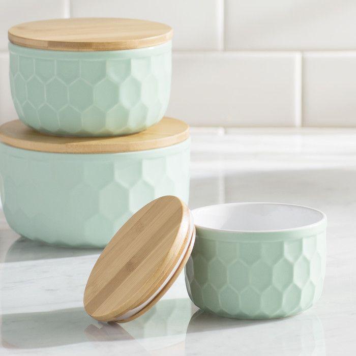 Bergamot 3 Piece Ceramic Mixing Bowl Set by Mint Pantry| Wayfair