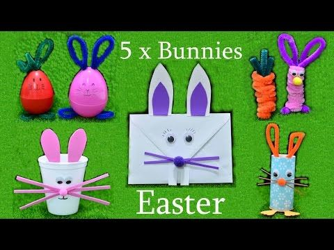 5 Easter Bunny chenille paper art craft kids play fun idea diy tutorial hacks gifts creation home