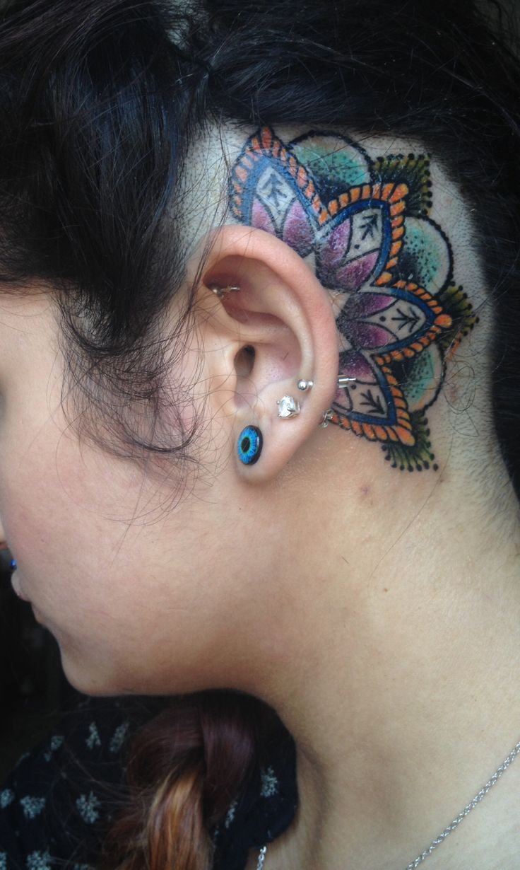 Mandala tattoo on the nape of my neck - Behind The Ear Mandala Just Got It Thought I D Share It With