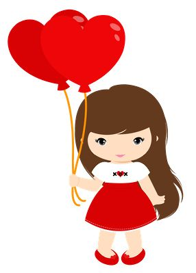 Dibujos. Clipart. Digi stamps - Balloon Heart Girl - Minus