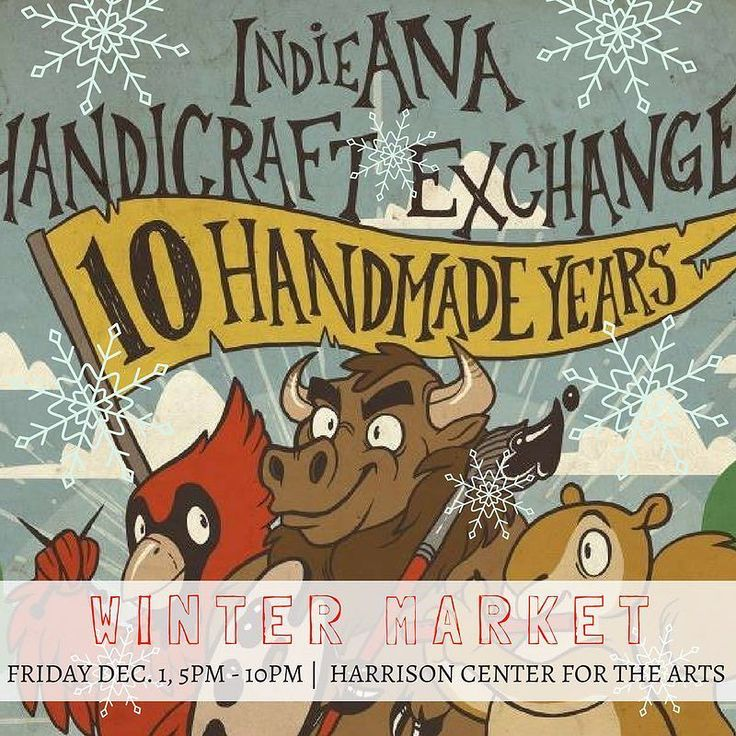 HAPPENING THIS FRIDAY DEC. 1ST 5PM-10PM AT THE @harrisoncenterarts! FREE ADMISSION! First 100 people in line who check in with their @yelpindy app get a free swag bag! 50 vendors slingin' contemporary craft for your holiday shopping! Beer and cider provided by @sunkingbrewing and @newdaycraft to keep you warm! Don't forget we'll also be accepting donations for @coburnplace and @projecthomeindy during our Winter Market! Bringing in donations gets you FREE RAFFLE TICKETS to win prizes during…