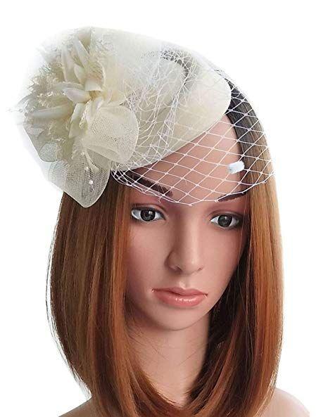 320c290121e Fascinator Hats Pillbox Hat British Bowler Hat Flower Veil Wedding Hat Tea  Party Hat (Beige)