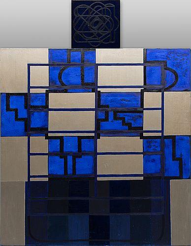 Marika Mäkelä: Blue Lilium Candium, 2002, öljy ja pigmentti kankaalle, 160x156 + 50x50,5 cm - Bukowskis Contemporary F178
