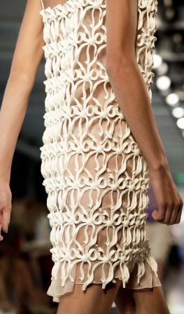 Ornamental Structures - delicate dress with fine textured pattern detail // Christopher Kane