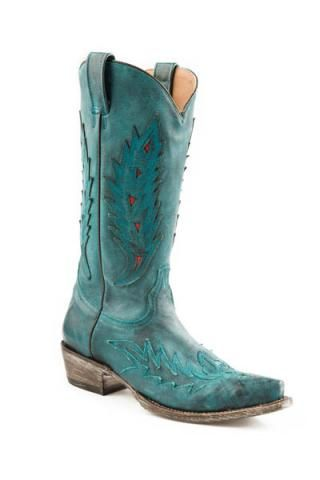 Sanded Turq. With Oak Overlay Vamp Shaft Ladies Stetson Boot Boots Urban Western Wear