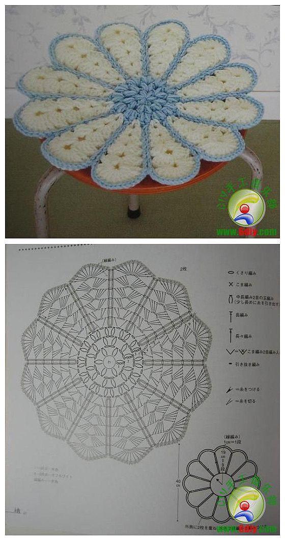 코바늘 도안 : 꽃무늬 의자 방석 도안