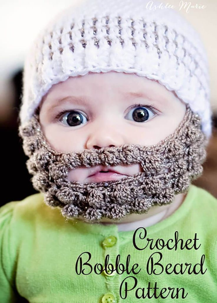 Free pattern for a Crochet Bobble Beard to attach to your favorite beanie, extra small, small, medium and large.